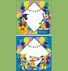 border template with clowns in circus vector image vector image