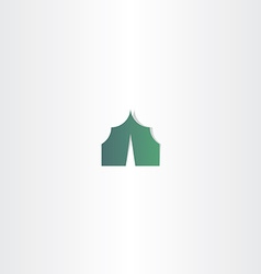 Camping tent green icon vector