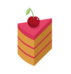 Cherry cake piece with berry isolated cherries vector