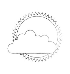 Cloud sky with sun vector