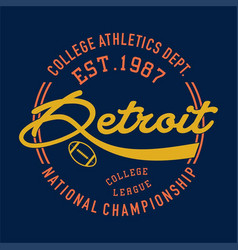 College athletic detroit vector