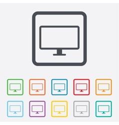 Computer widescreen monitor sign icon vector image