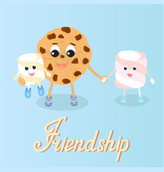 Cookie and marshmallow friendship friends day vector