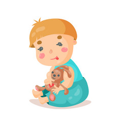 cute cartoon baby sitting and plying with his vector image