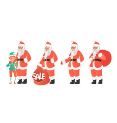 Design template with santa claus and elf cartoon vector