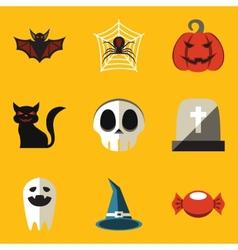 Flat icon set Halloween vector image