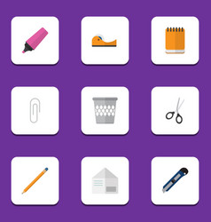 Flat icon stationery set of notepaper clippers vector