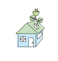 House with power cable with leaves to reduce vector