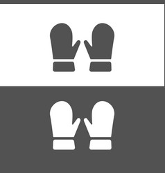 mittens icon on dark and white background vector image
