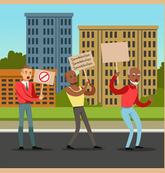 Multicultural group of people with placards vector