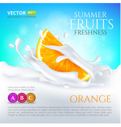 Orange slice falling in milk or yogurt splash vector