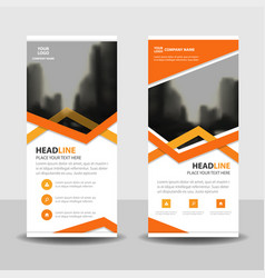 Orange triangle business roll up banner flat vector