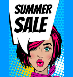 pop art woman summer sale banner speech bubble vector image vector image