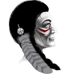 Portrait of an indian warrior vector
