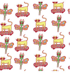 seamless pattern with doodle cartoon cat on vector image vector image