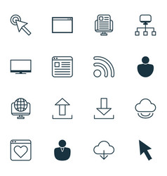 Set of 16 web icons includes mouse save data vector