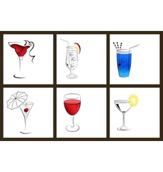 Set of cocktail glasses and wine glasses vector image