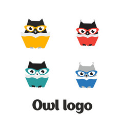 set owl logo owl icon set flat vector image
