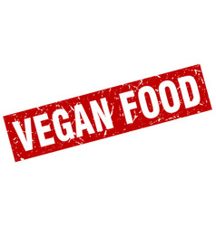 Square grunge red vegan food stamp vector
