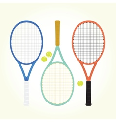 Tennis rackets and balls vector image vector image