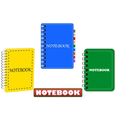 three in different colors notepad vector image vector image