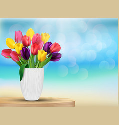 Tulip flowers background vector image