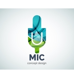 Microphone logo business branding icon vector