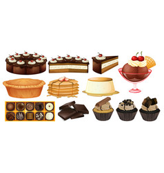 Different types of desserts vector