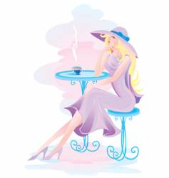 sitting at a table vector image