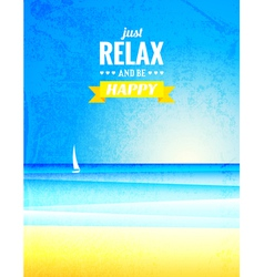 vintage poster with sea landscape vector image