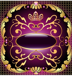 Background with pattern and crown of gold vector