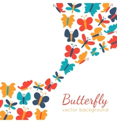 Retro background of colorful butterfly silhouettes vector