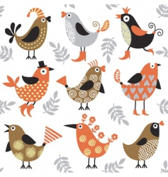 Pattern with birds vector
