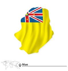 Map of niue with flag vector