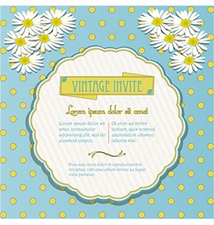 Vintage invite with chamomile flowers vector