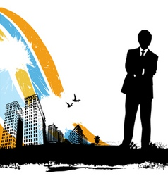 Business man with city vector
