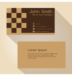 Simple brown blocky simple business card design vector
