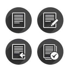 Document icons upload file and checkbox vector