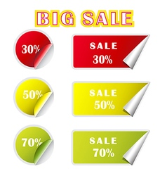 Big sale text and percent tags vector