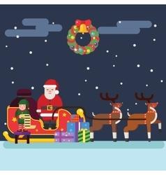 Santa clause christmas elf reindeer vector