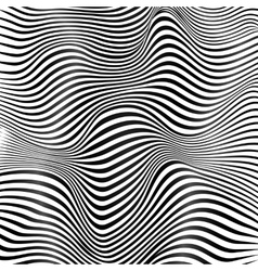 Abstract black and white stripes waves background vector