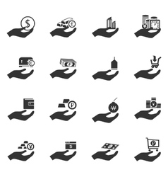 Hand and money icons set vector