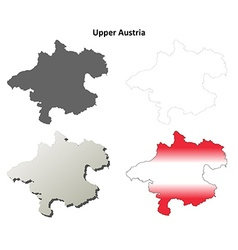 Upper austria blank detailed outline map set vector