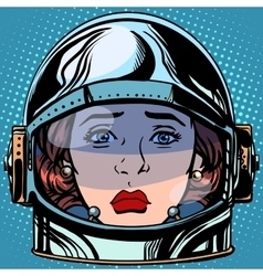 Emoticon sadness emoji face woman astronaut retro vector