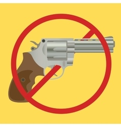 No gun ban control pistols with ban-sign vector