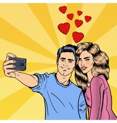 Young loving couple making selfie vector