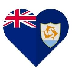 Anguilla flat heart flag vector image vector image