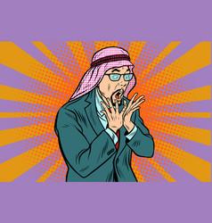 Arab businessman surprised emotional reaction vector
