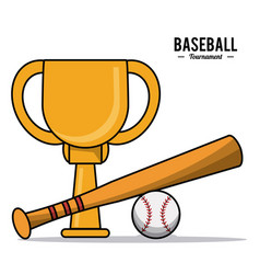 Baseball sport trophy ball bat design image vector