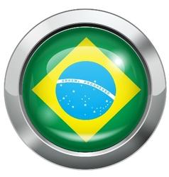 Brazilian flag metal button vector image vector image